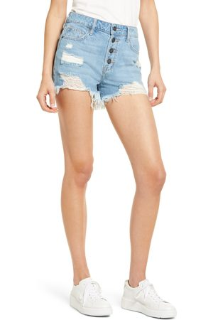 Hidden Jeans Women's Distressed High Waist Button Fly Denim Cutoffs