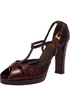 Etro Croc Embossed Leather Peep Toe T Strap Sandals Size 37.5