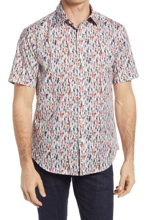 Bugatchi Men's Shaped Fit Stretch Print Short Sleeve Button-Up Shirt