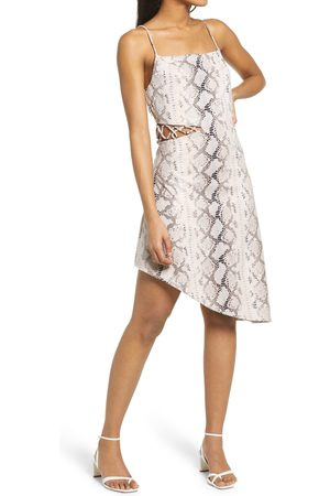 KENDALL + KYLIE Women's Snake Print Asymmetrical Cutout Slipdress