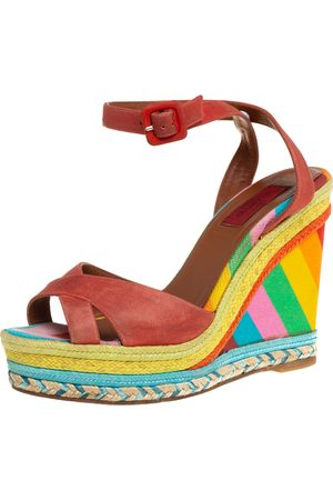 VALENTINO Women Wedges - Suede Criss Cross Wedge Espadrille Sandals Size 38