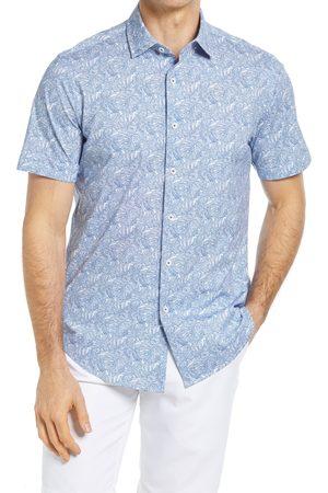 Bugatchi Men's Ooohcotton Stretch Print Short Sleeve Button-Up Shirt