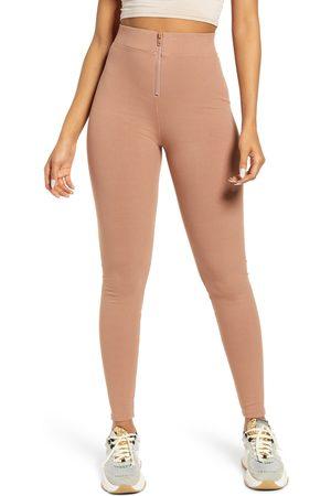 Naked Wardrobe Women's Snatched Zip Front High Waist Rib Leggings