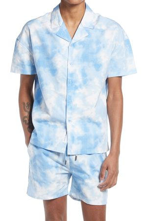 Native Youth Men's Watercolor Short Sleeve Button-Up Camp Shirt