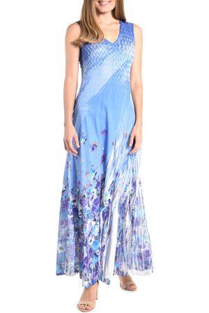 Komarov Women's Floral V-Neck Side Slit Georgette Gown