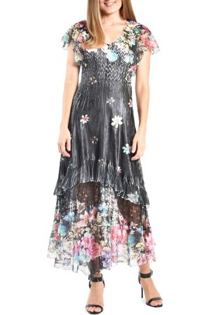 Komarov Women's Floral Tiered Charmeuse Dress