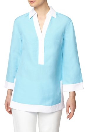 Anne Klein Women's Colorblock Bell Sleeve Tunic
