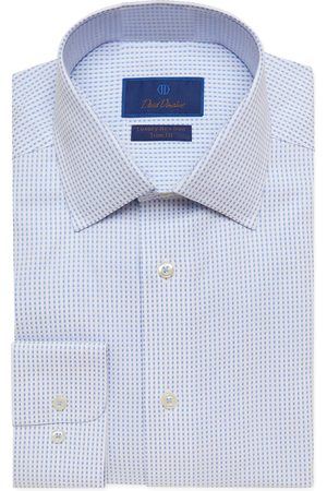 David Donahue Men's Big & Tall Trim Fit Non-Iron Check Dress Shirt