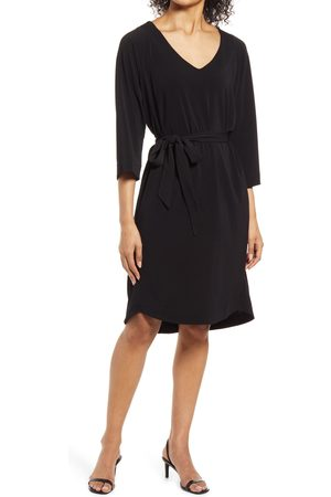 Ilse Jacobsen Women's V-Neck Belted Stretch Jersey Dress