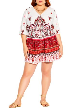 City Chic Plus Size Women's Angel Heart Printed Romper