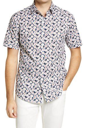 Bugatchi Men's Shaped Fit Stretch Floral Short Sleeve Button-Up Shirt
