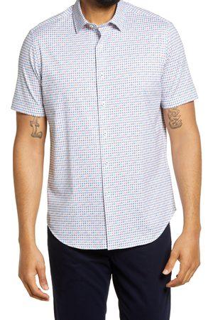 Bugatchi Men's Ooohcotton Tech Geo Print Short Sleeve Knit Button-Up Shirt