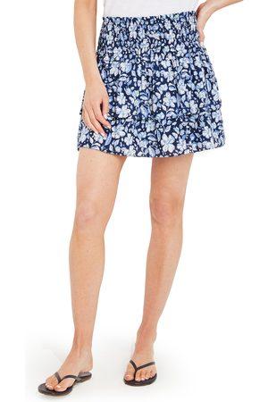 Vineyard Vines Women's Hibiscus Floral Print Smocked Miniskirt