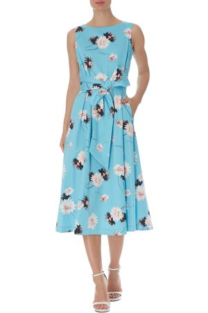 Anne Klein Women's Daisy Sleeveless Tie Waist Midi Dress