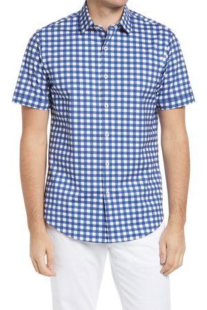 Bugatchi Men's Ooohcotton Tech Gingham Knit Short Sleeve Button-Up Shirt