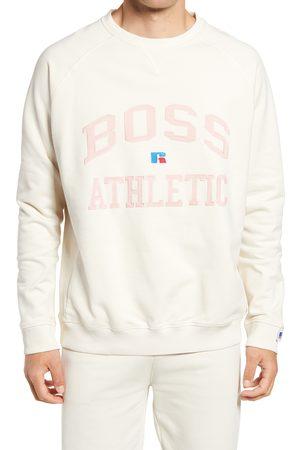 HUGO BOSS Men's X Russell Athletic Stedmanra Varsity Logo Crewneck Sweatshirt