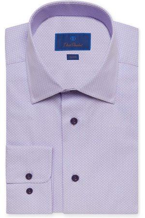 David Donahue Men's Trim Fit Print Dress Shirt