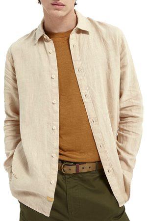 Scotch&Soda Men's Regular Fit Linen Button-Up Shirt