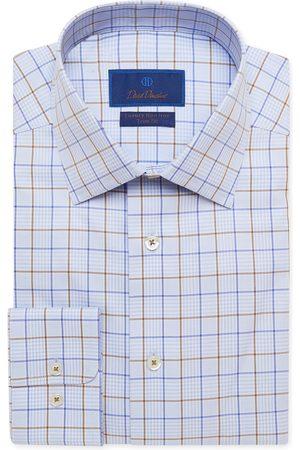 David Donahue Men's Trim Fit Non-Iron Plaid Dress Shirt