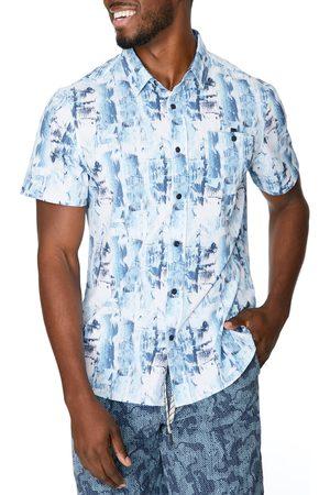 7 Diamonds Men's Ground Work Abstract Short Sleeve Stretch Button-Up Shirt