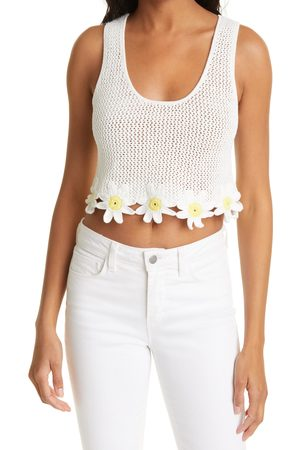 Staud Women's Portofino Daisy Hem Cotton & Linen Blend Knit Crop Top