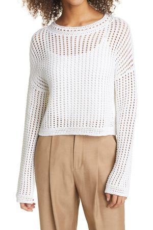 Vince Women's Crochet Crewneck Cotton Sweater
