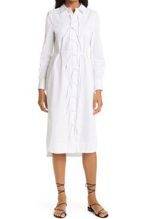 REBECCA TAYLOR Women's Tie Front Long Sleeve Cotton Shirtdress