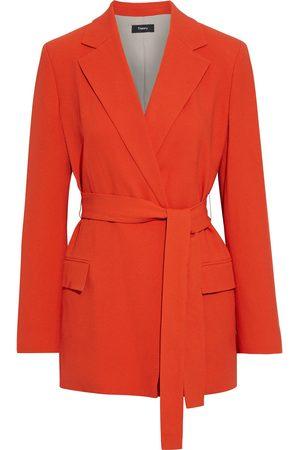 THEORY Women Blazers - Woman Belted Crepe Blazer Papaya Size 4