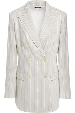 THEORY Women Blazers - Woman Double-breasted Pinstriped Linen-blend Blazer Light Size 0