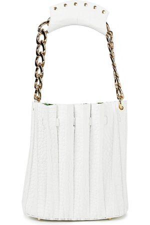 Sara Battaglia Woman Plissé Croc-effect Leather Bucket Bag Size