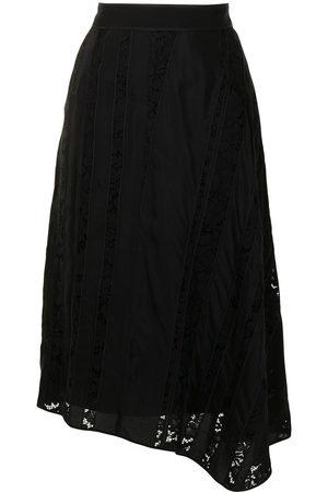 Nº21 Asymmetric lace-panel skirt