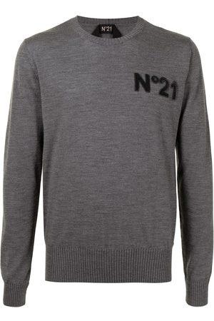 Nº21 Men Sweatshirts - Chest logo-patch jumper - 8961 GRIGIO SCURO MELANGE