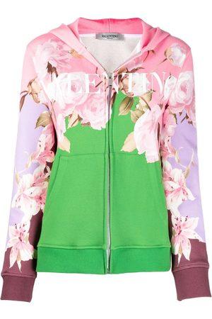 VALENTINO Floral logo-print zip-up hoodie