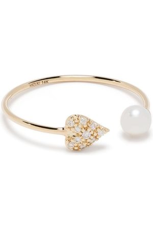 Mizuki Women Rings - 14kt yellow diamond heart and pearl ring