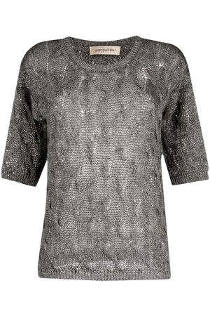 GENTRYPORTOFINO Women Tops - Open knit short-sleeved top - Grey
