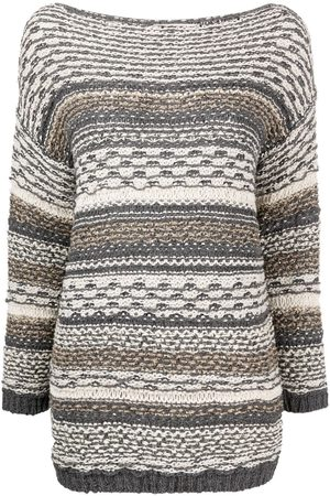 GENTRYPORTOFINO Striped knit boat neck jumper - Grey