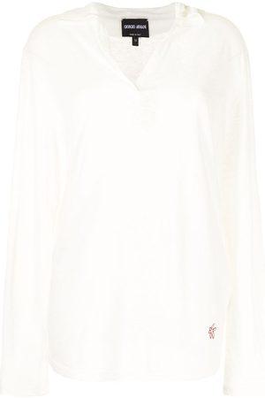 Armani Logo-embroidered long-sleeve polo shirt