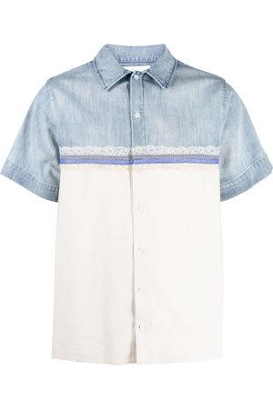 KOCHÉ Men Shirts - Lace-detail two-tone shirt