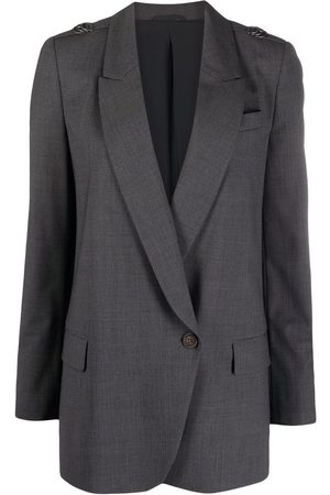 Brunello Cucinelli Women Blazers - Beaded D-ring double-breasted blazer - Grey
