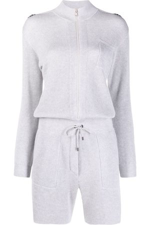 Brunello Cucinelli Women Playsuits - Ribbed-knit cotton playsuit - Grey