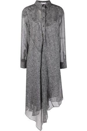 Brunello Cucinelli Women Dresses - Lightweight silk paisley dress - Grey