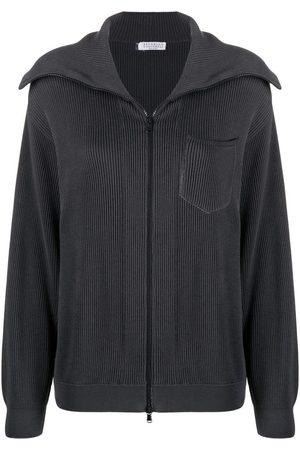 Brunello Cucinelli Spread-collar zipped cardigan - Grey