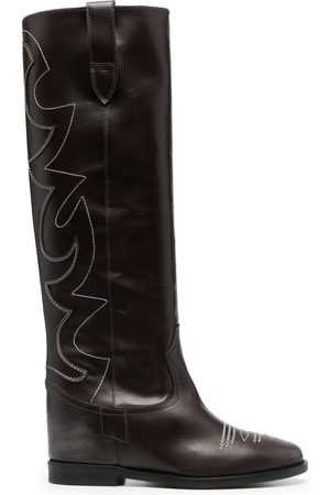 Via Roma Women Boots - Contrast-stitching leather boots