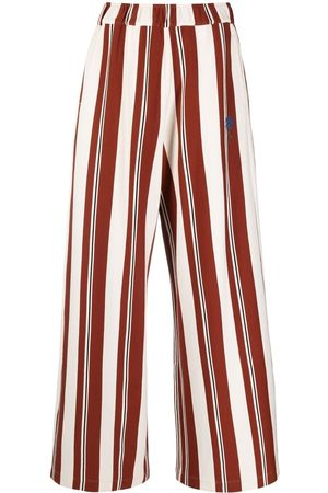 Opening Ceremony Women Wide Leg Pants - Vertical-stripe high-waisted trousers - Neutrals