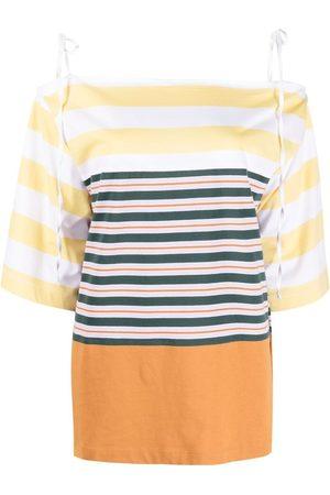 Marni Cold-shoulder striped blouse