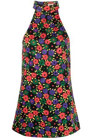 Saint Laurent Floral-embroidered halterneck dress