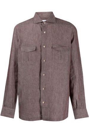 Mazzarelli Spread collar linen shirt