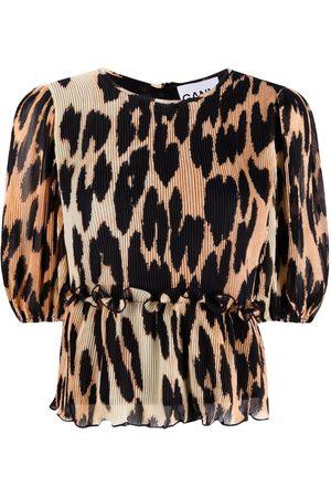 Ganni Women Blouses - Balloon-sleeve leopard-print blouse - Neutrals