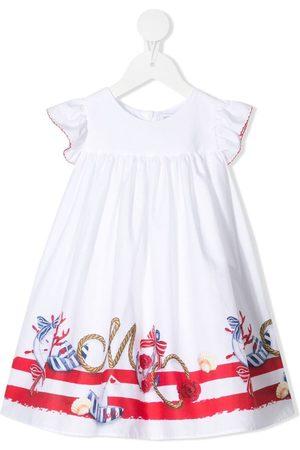 MONNALISA Baby Casual Dresses - Nautical-motif ruffled-sleeves dress