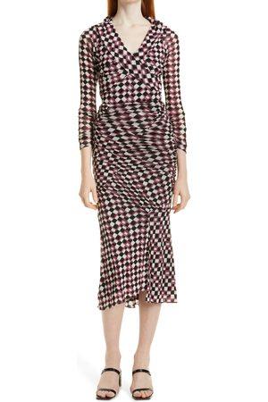 DVF Women's Ganesa Geo Print Ruched Wrap Front Dress